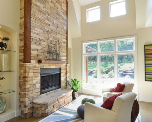 Stone Fireplace and Pool Sterling Brook Custom Homes