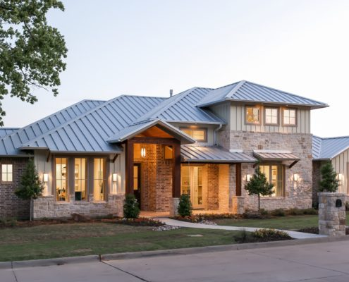 Village park Front Elevation with LIghts Sterling Brook Custom Homes